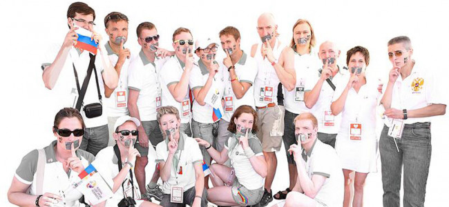 Team Russia Pose For LGBT Rights Campaign NOH8 In Antwerp
