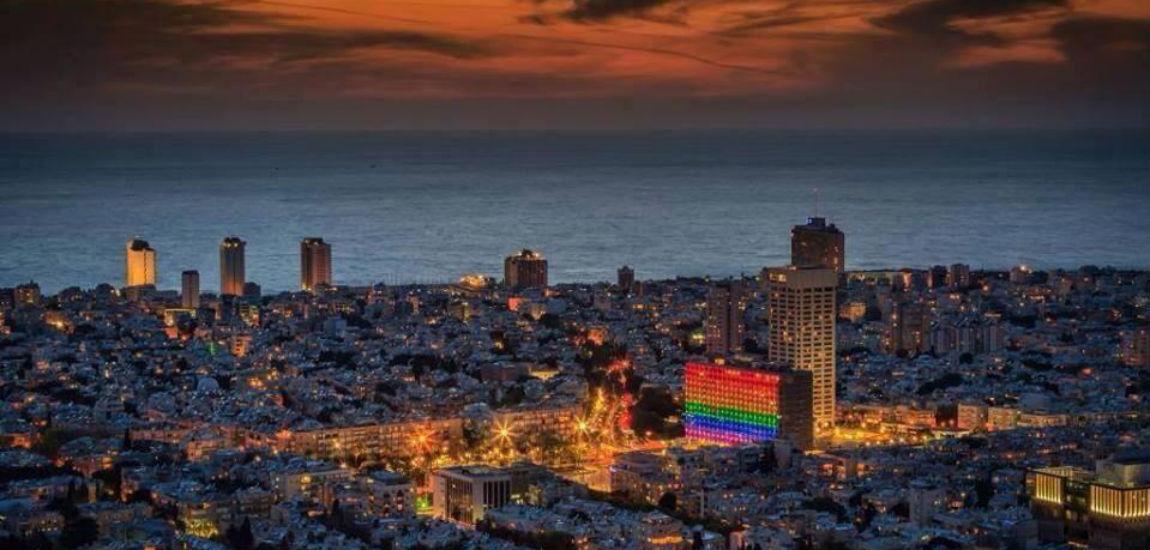 giant rainbow flag for Tel Aviv Pride