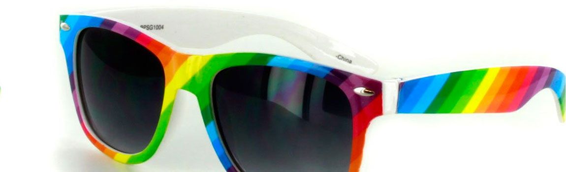 Gay Christmas Gift Ideas, rainbow coloured sunglasses