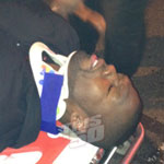 50 Cent in a neck brace following a car accident