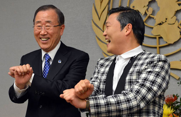 Psy and Ban-Ki Moos doing Gangnam Style move