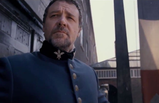 Russell Crowe as ruthless policeman Javert in Les Miserables 2012
