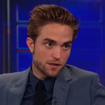 Robert Pattinson talking to Jon Stewart on The Daily Show