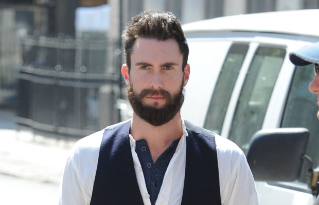 Adam Levine sporting a beard on the set of Can A Song Save Your Life