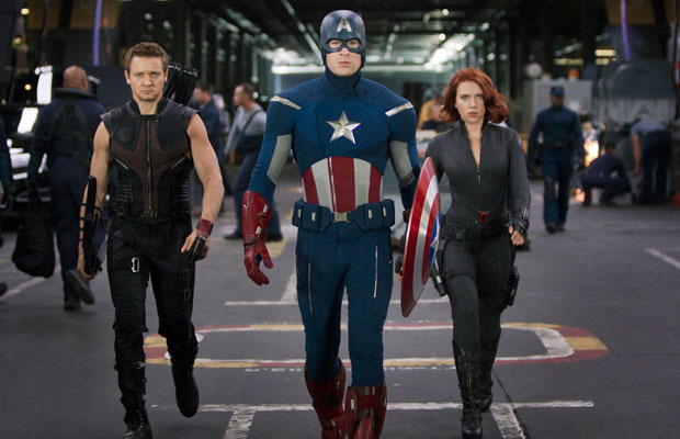 Avengers movie still featuring Captain America, Black Widow, Hawkeye