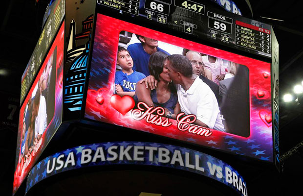 The Obamas Get Caught On Kiss Cam