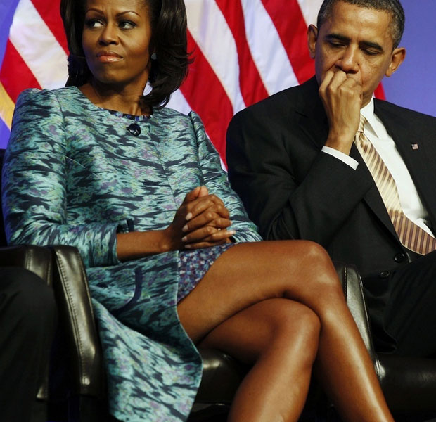Barack Obama staring at Michelle Obama's legs