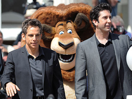 Ben Stiller and David Schwimmer getting photobombed by Alex The Lion in Cannes