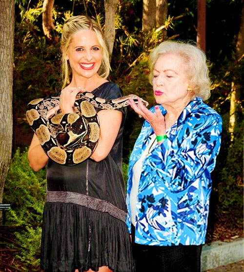 Betty White and Sarah Michelle Geller with a snake