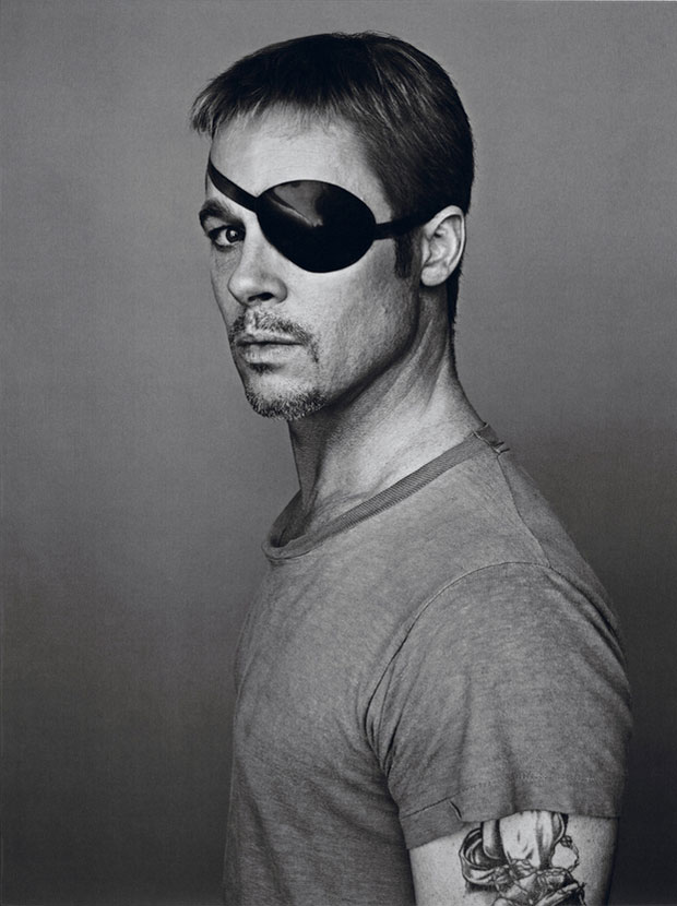 Brad Pitt wearing an eyepatch in Interview Magazine photoshoot