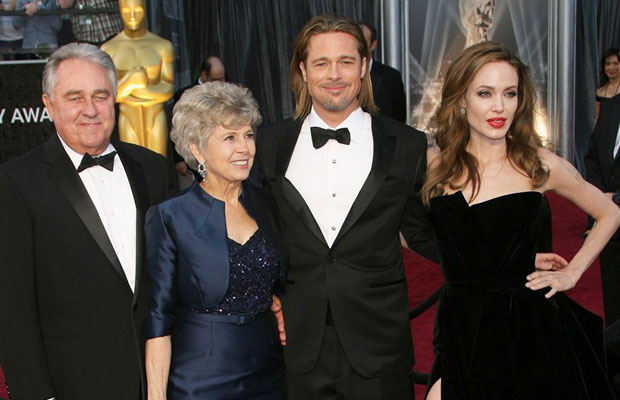 Brad Pitt with his mother Jane Pitt and fiance Angelina Jolie