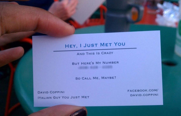 David Coppini's Call Me Maybe style business card