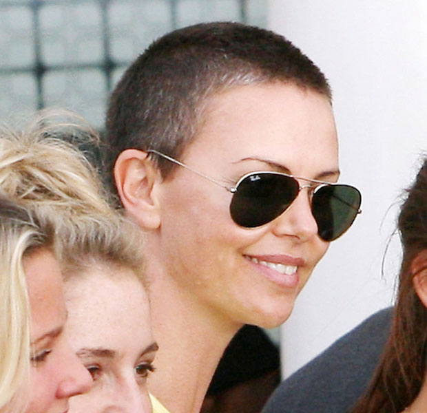 Charlize Theron's shaved head