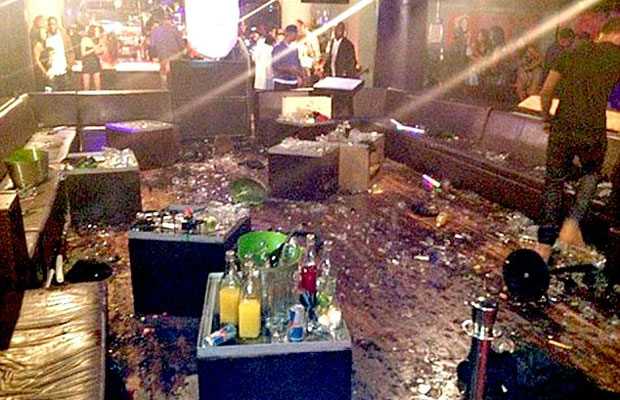 The trashed and wrecked interior of New York's WIP nightclub following Chris Brown and Drake fight