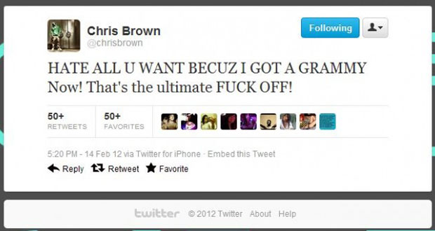 Chris Brown's controversial Grammy 2012 tweet