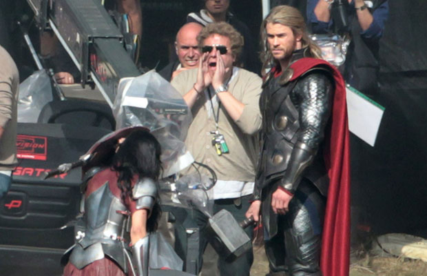 Chris Hemsworth on the Thor movie set