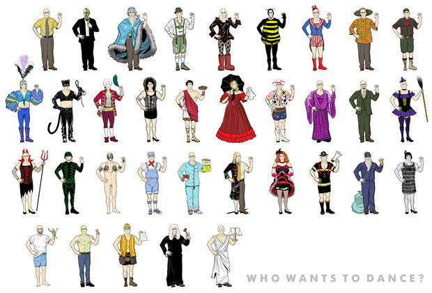 All of Dean Pelton's costumes from Community in a poster
