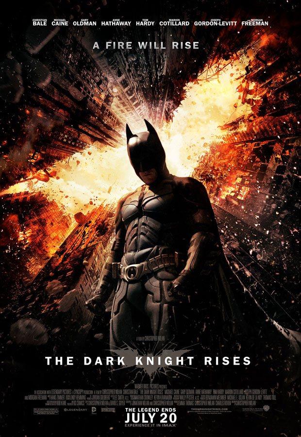 Batman in explosive Gotham City in Dark Knight Rises The Legend Ends Poster