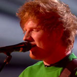 Ed Sheeran performing live at the Brit Awards 2012