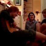 Ed Sheeran and Taylor Swift jamming on the kitchen floor