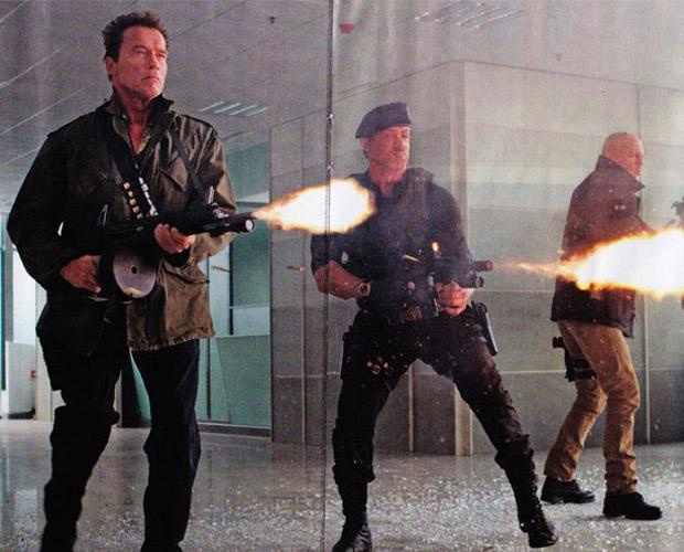 Willis, Schwarzenegger, Stallone, in Expendables 2