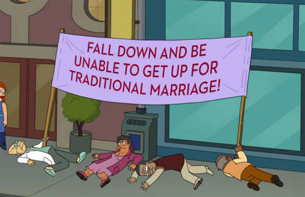 "Gay Marriage Vs. ""Traditional"" Marriage Supporters On Futurama"