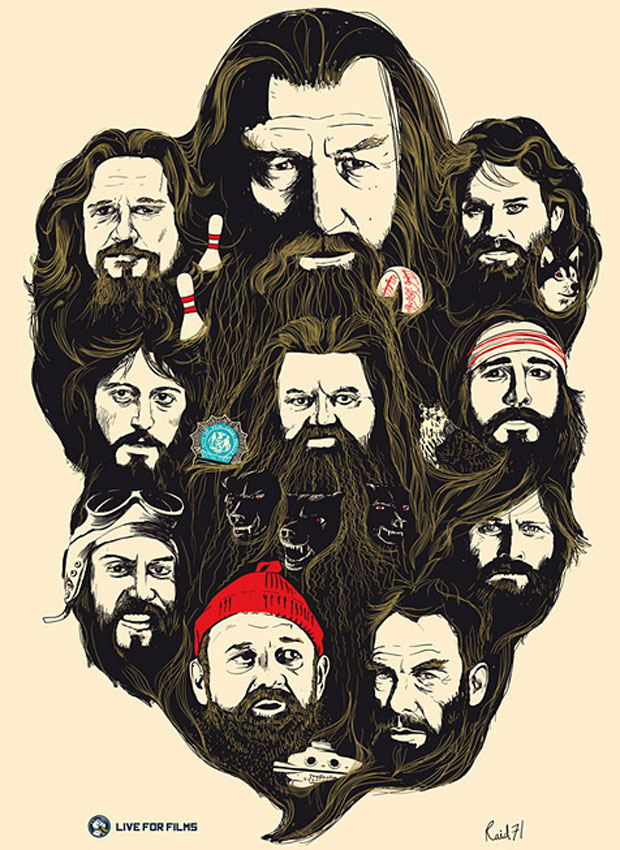 Poster Depicting Famous Beards In Movies
