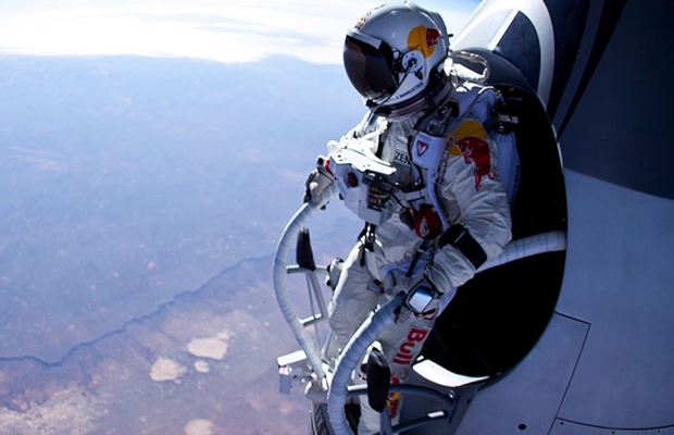 Felix Baumgartner standing outside supersonic live jump pod