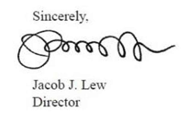 Copy of Jacob Lew's signature