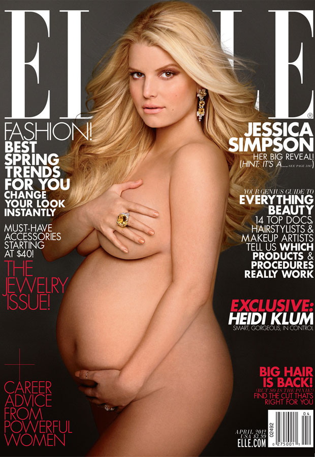 Jessica Simpson Elle magazine pregnant nude cover