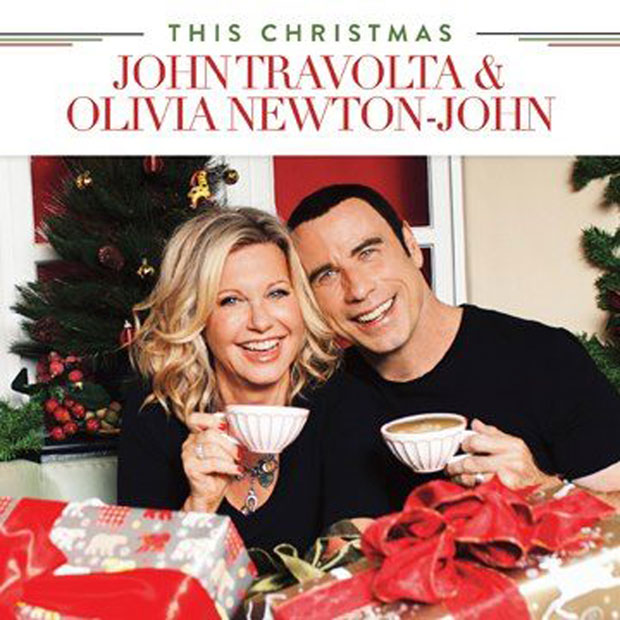 Olivia Newton-John and John Travolta&#039;s Christmas album cover