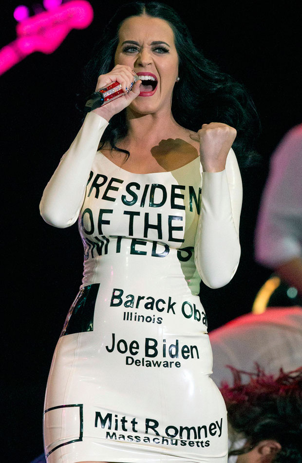 Katy Perry wearing latex dress performing for President Barack Obama