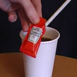 Practical joke using a ketchup sachet