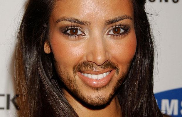 Kim Kardashian with a beard
