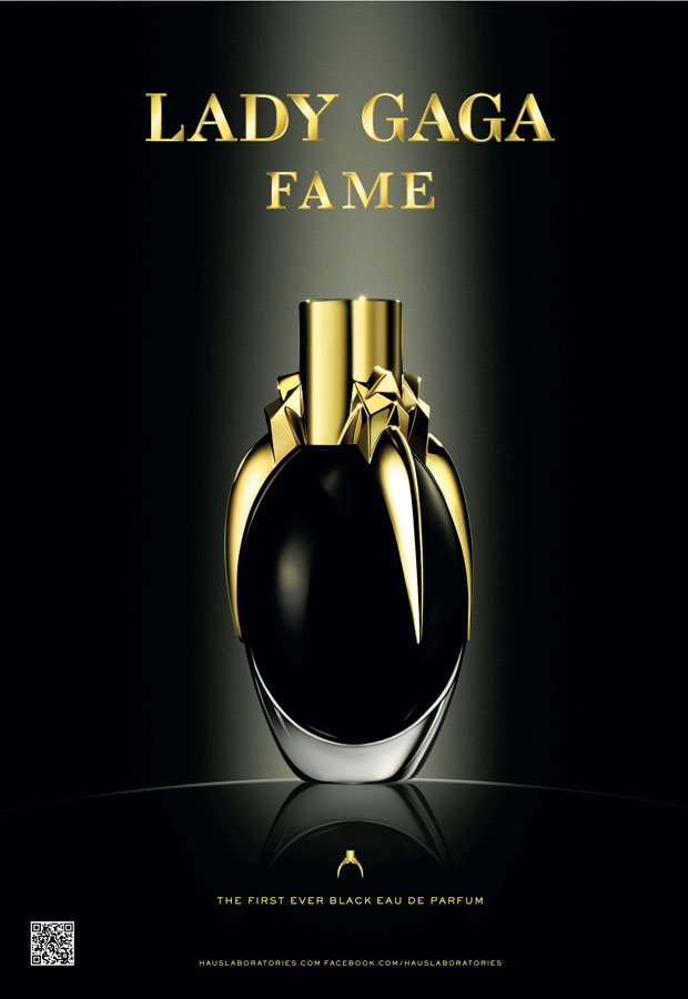 Promo artwork for the new Lady Gaga fragrance perfume Fame