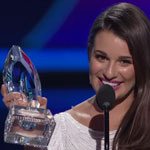 Leah Michele accepting award at the 2012 People's Choice Awards