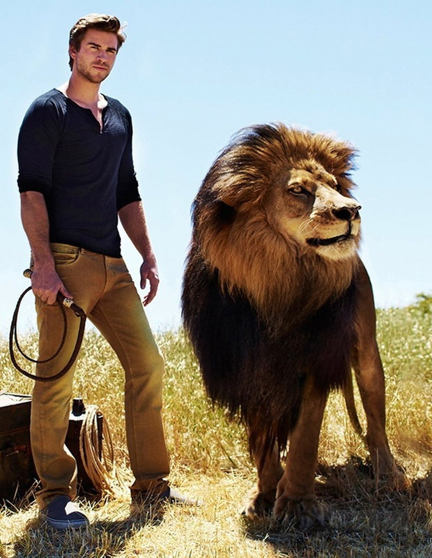 Liam Hemsworth with a Lion
