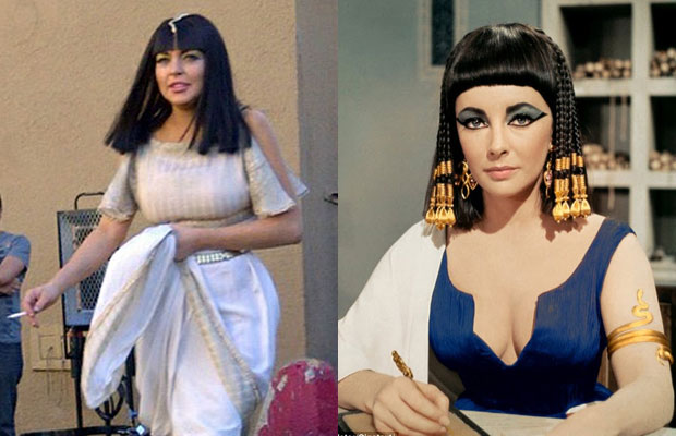 Side by side comparison of Lindsay Lohan and Liz Taylor as Cleopatra
