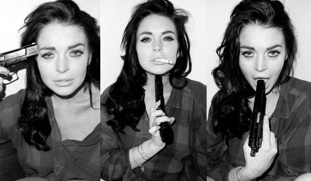 Lindsay Lohan pointing a gun to her head in Terry Richardson photo shoot