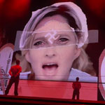 Madonna projecting swastika on French politician Marine Le Pen's face during MDNA concert