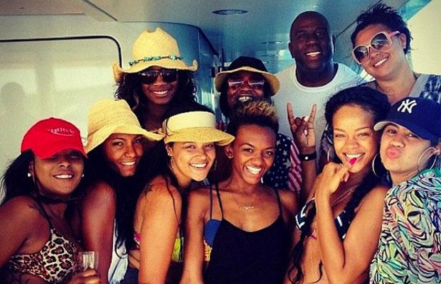 Magic Johnson Partying On Rihanna's Yacht