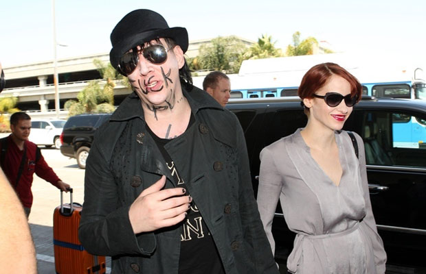 Marilyn Manson At An Airport With 'F You' Written On His Face