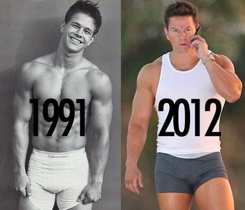 Mark Wahlberg's body through the years. 1991 vs 2012