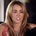 Miley Cyrus during Amanda De Cadenet interview