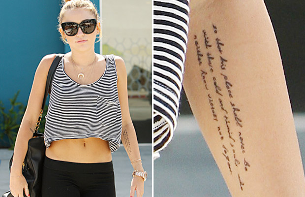 Miley Cyrus gets 15th Tattoo in July 2012