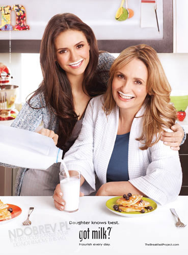 Nina Dobrev and her mum in a Got Milk poster