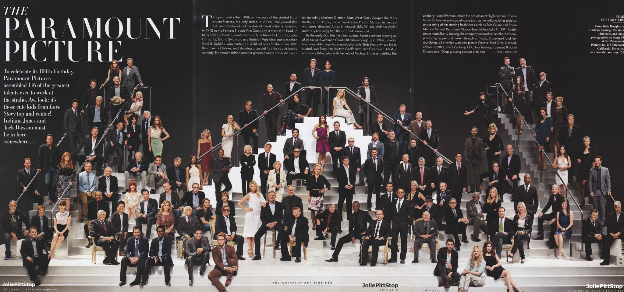 Paramount Pictures' 100th anniversary celebrity actors actresses photo on steps
