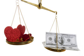Pre Nup - Love Vs. Cash scales