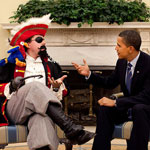 President Barack Obama talking to a pirate
