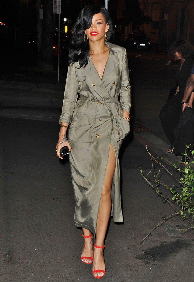 Rihanna in a trenchcoat in Australia